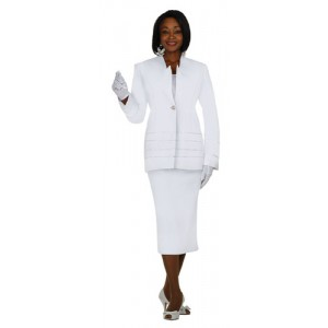 Satin Ribbon Accented Church Uniform Suit